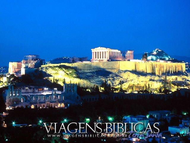 Visão noturna da Acrópole de Atenas