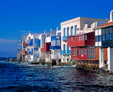Litoral da Ilha Grega de Mykonos